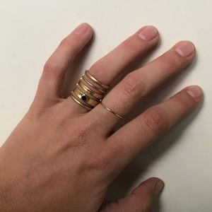 Madewell gold ring with black stone